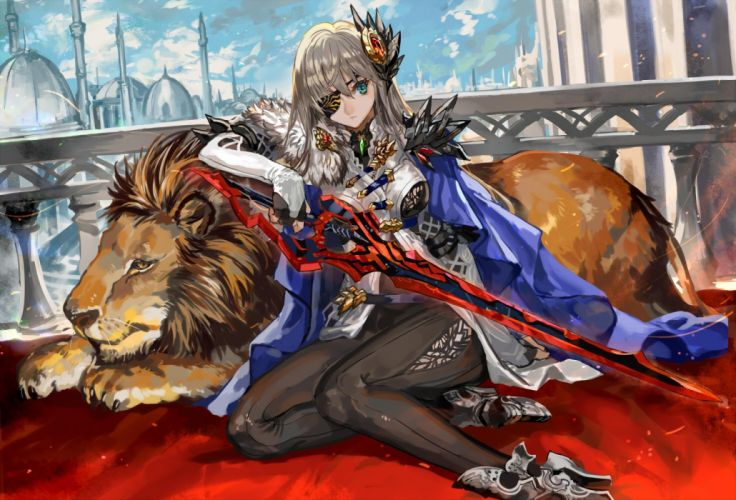 animal blonde hair blue eyes boots cape elbow gloves eyepatch lion long hair original ran'ou (tamago no kimi) sword weapon wallpaper