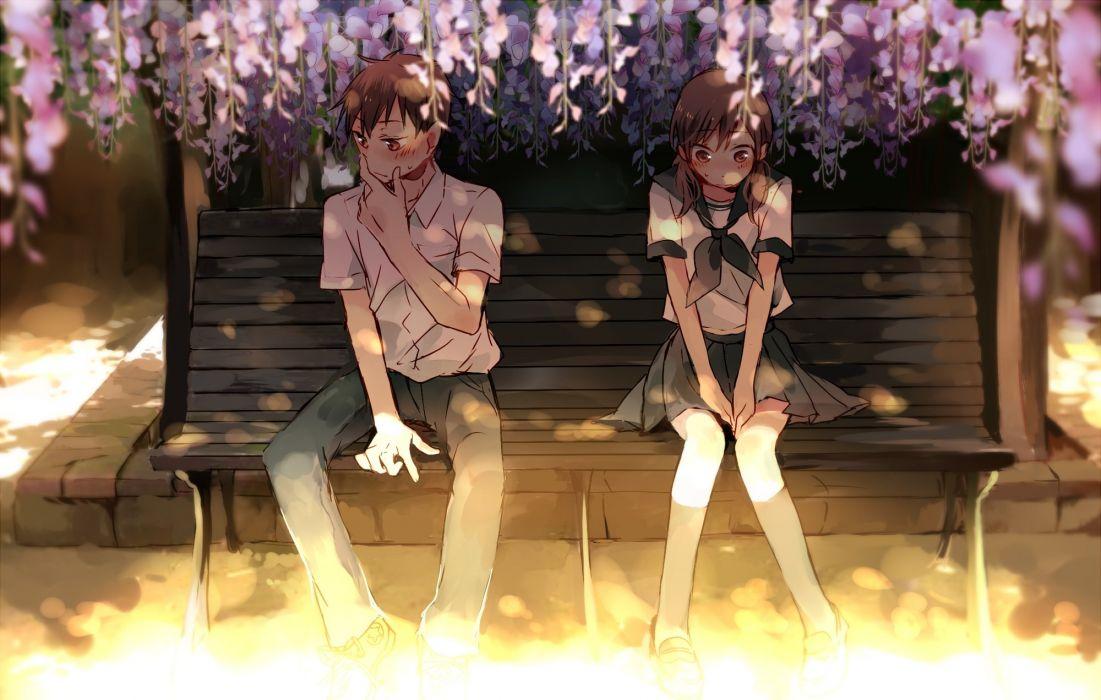 blush flowers kneehighs makoji (yomogi) male original park seifuku shade skirt tree wallpaper
