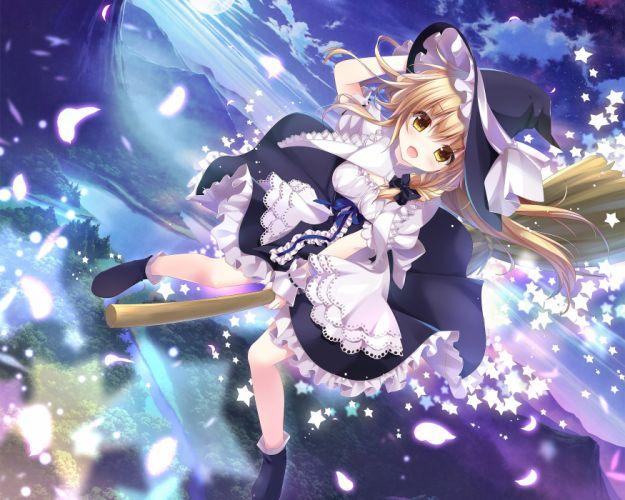 blonde hair dress hat kino (kino konomi) kirisame marisa long hair sky touhou witch wallpaper