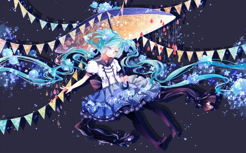 dress hatsune miku shuuumatsu twintails umbrella vocaloid wallpaper