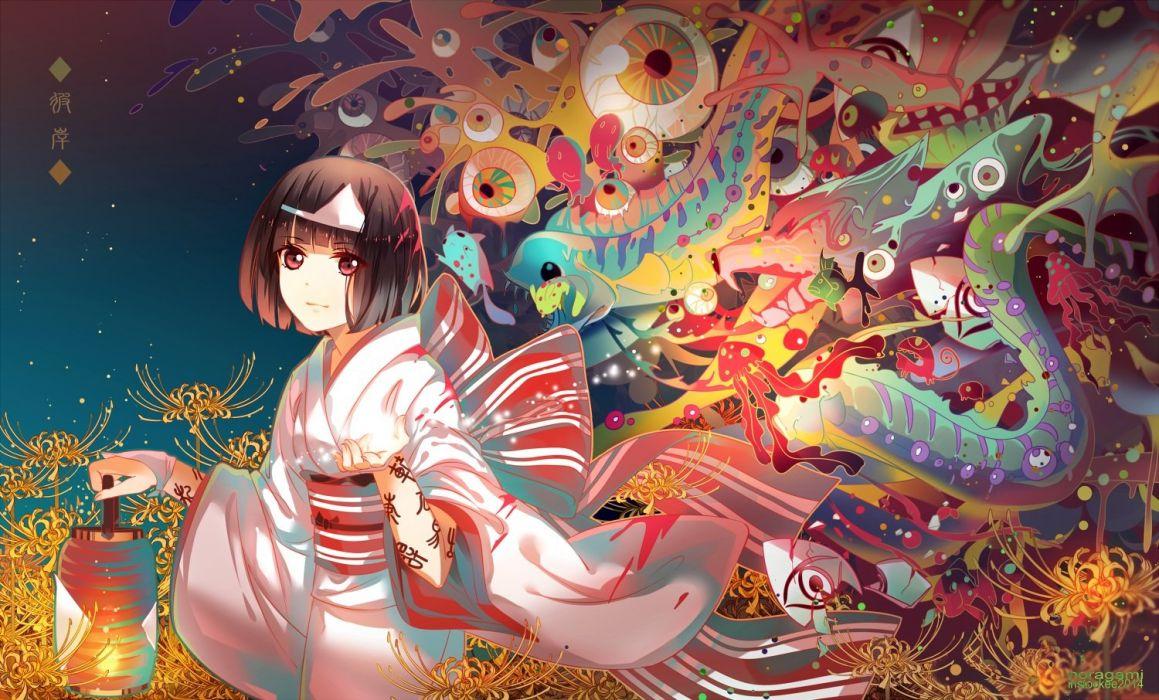 bow brown hair flowers instocklee japanese clothes noragami nora (noragami) red eyes short hair wristwear yukata wallpaper