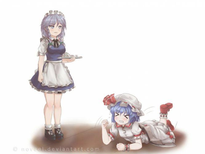 girls blue hair braids dress drink hat izayoi sakuya maid novcel remilia scarlet signed touhou white wallpaper