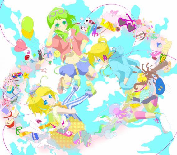 Vocaloid GUMI Kagamine Rin Kagamine Len Multi-colored Legwear wallpaper