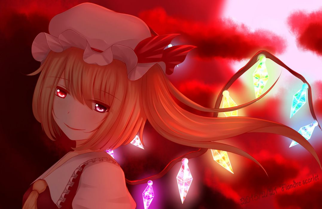 Touhou Flandre Scarlet Text Calendar Red Bow Unusual Colored Wings wallpaper
