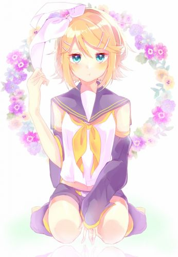 Vocaloid Kagamine Rin Yellow Flower Small Breasts Exposed Shoulders wallpaper