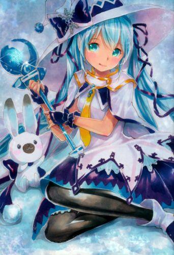 Vocaloid Hatsune Miku White Headwear Rabbit Blue Bow wallpaper