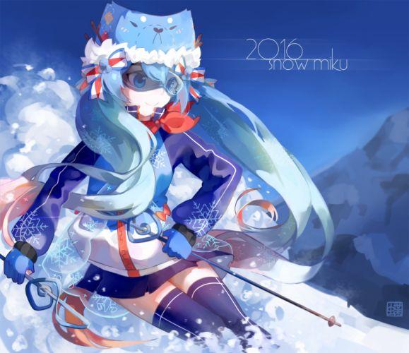 Vocaloid Hatsune Miku Outdoors Blue Headwear Blue Hat wallpaper
