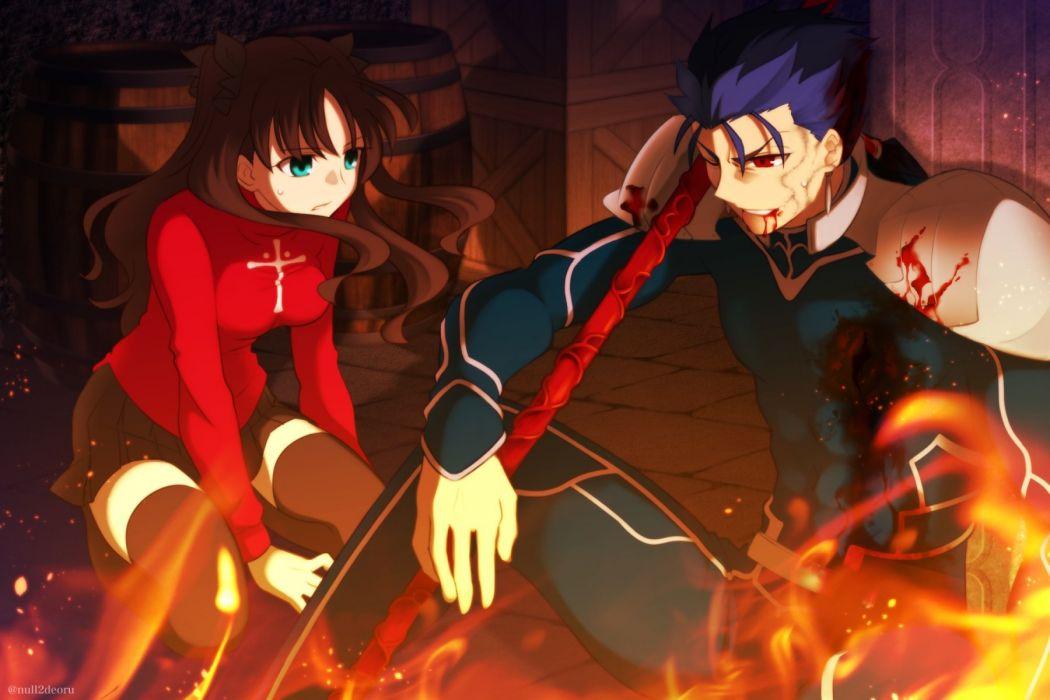Fate stay night Tohsaka Rin Lancer Fire wallpaper
