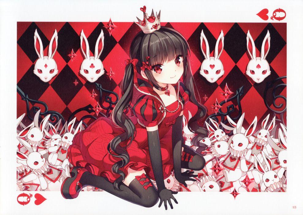 Alice in Wonderland Queen of Hearts Black Gloves Puffy Sleeves  wallpaper