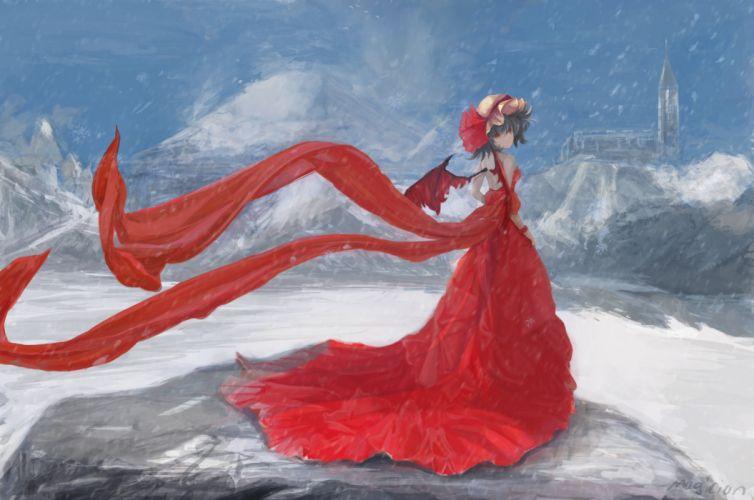 Touhou Remilia Scarlet Day Winter White Hat wallpaper