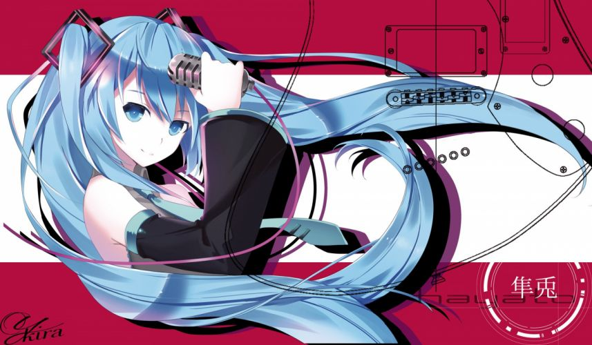 Vocaloid Hatsune Miku Holding Object Outline Microphone wallpaper