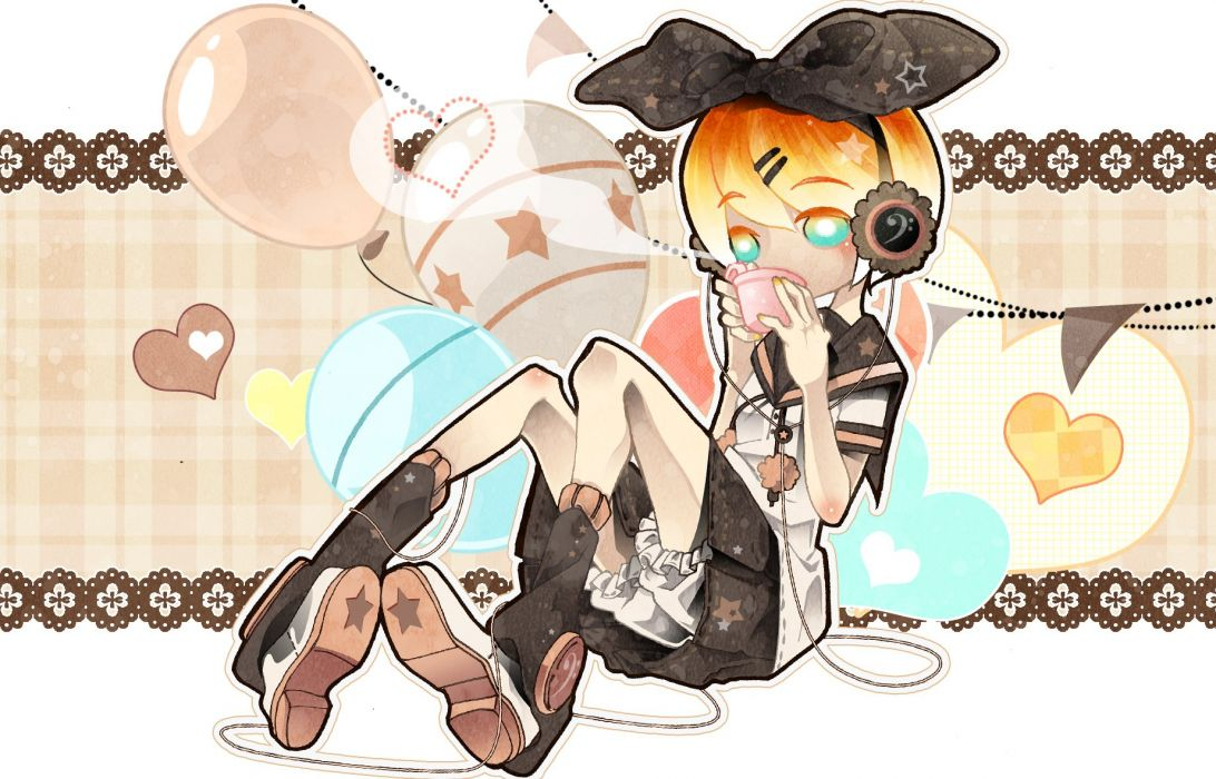 Vocaloid Kagamine Rin Plaid Holding Object Dashed Line wallpaper