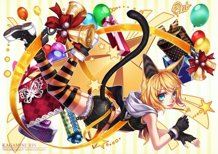 Vocaloid Kagamine Rin Striped Background Midair Gift wallpaper