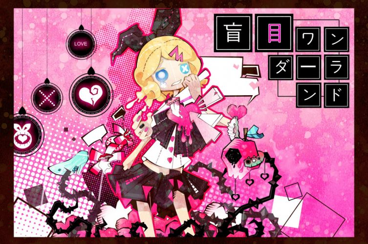 Vocaloid Kagamine Rin Triangle Extra Mouths Apple wallpaper