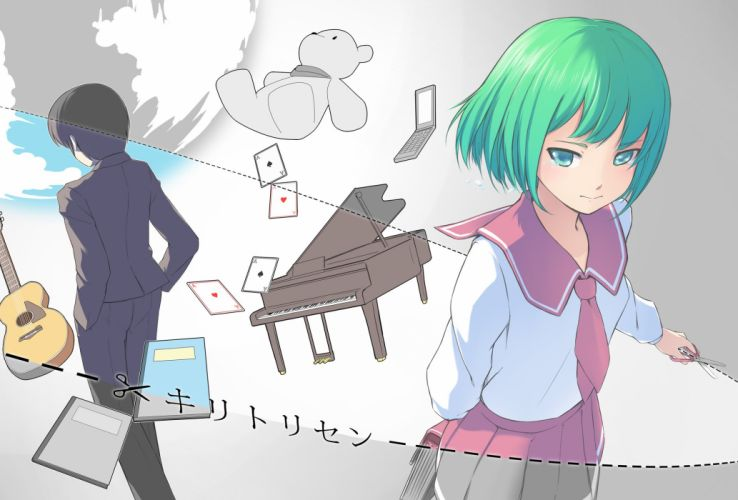 Vocaloid Fan Character GUMI Grand Piano Hand In Pocket wallpaper