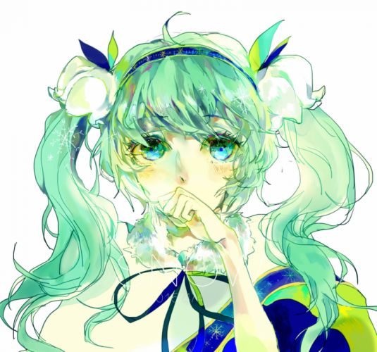 Vocaloid Hatsune Miku Clenched Hand Bust Lily Of The Valley wallpaper