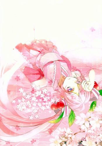 Vocaloid Hatsune Miku Pink Flower Exposed Shoulders Pink Nails wallpaper