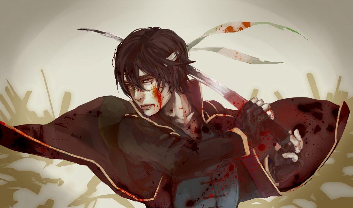 Gin Tama Takasugi Shinsuke Blood On Clothes Blood On Face wallpaper
