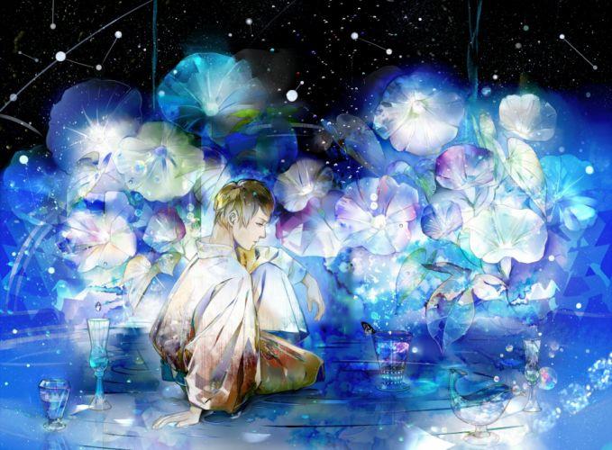 Saiga Tokihito Looking Away Cup Constellation Gemstone Night Sky original wallpaper