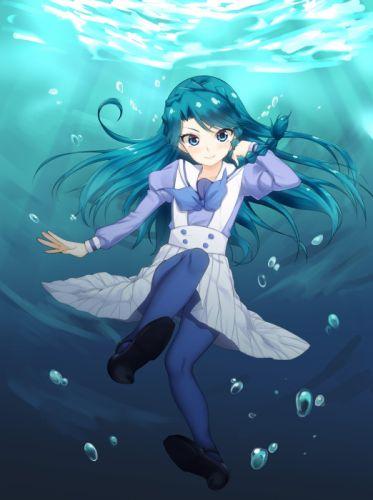Go Princess Precure Kaidou Minami Black Footwear Blue Legwear Puffy Sleeves wallpaper