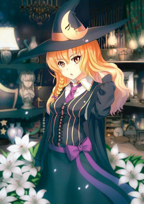 Touhou Kirisame Marisa Indoors Black Headwear Black Hat wallpaper
