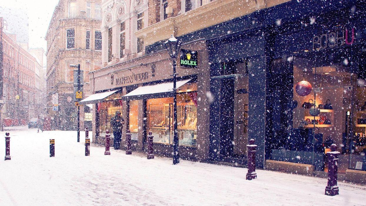 street city snow winter beautiful wallpaper