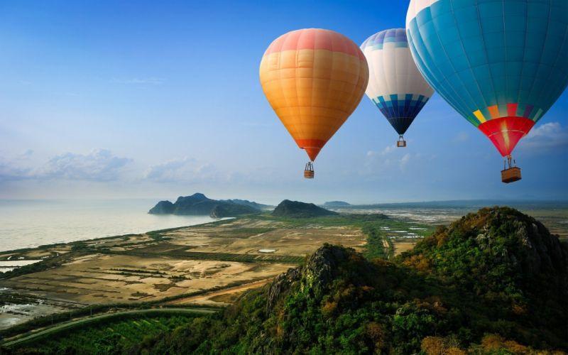sky beautiful balloons sea wallpaper