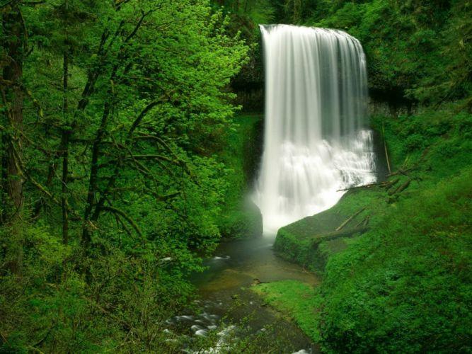 static waterfall nature green beautiful landscape wallpaper