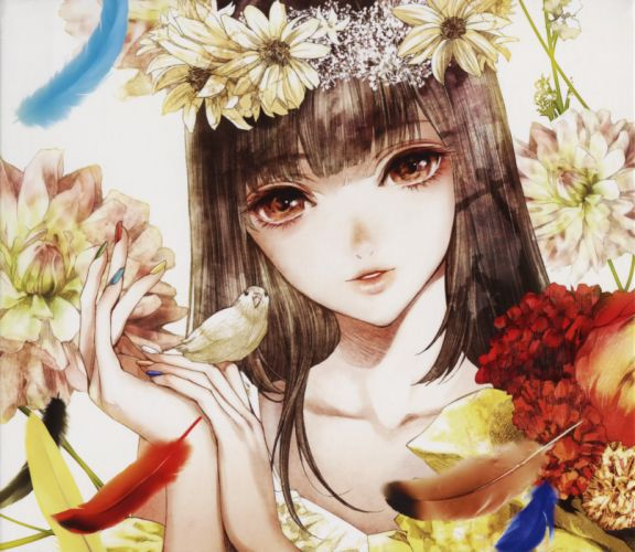 original anime girl flower beautiful bird animal wallpaper