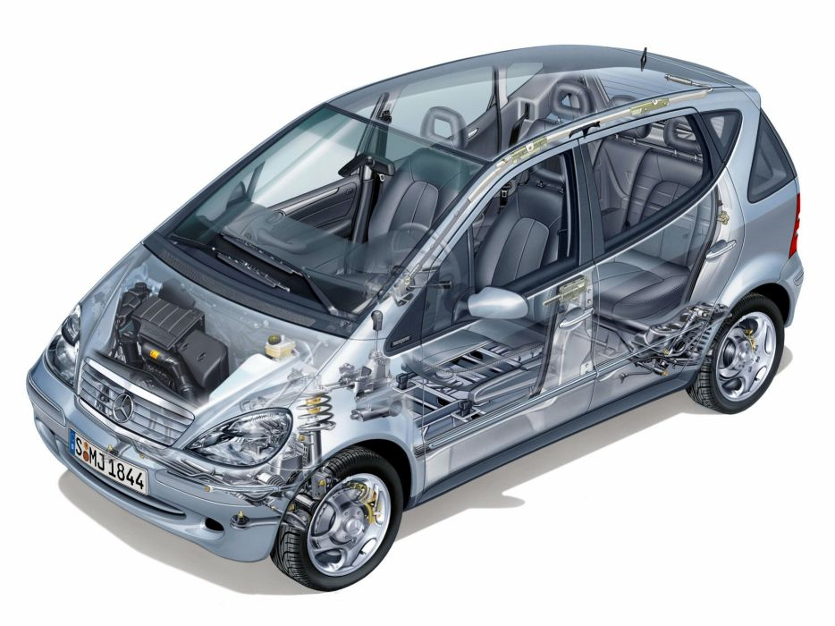 Mercedes Benz A-class 190 cars technical cutaway W168 1997 wallpaper