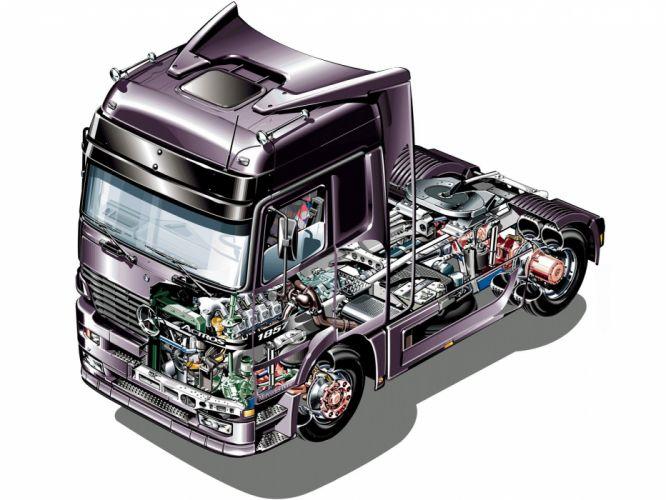 Mercedes Benz Actros truck 1997 technical cutaway W168 1997 wallpaper