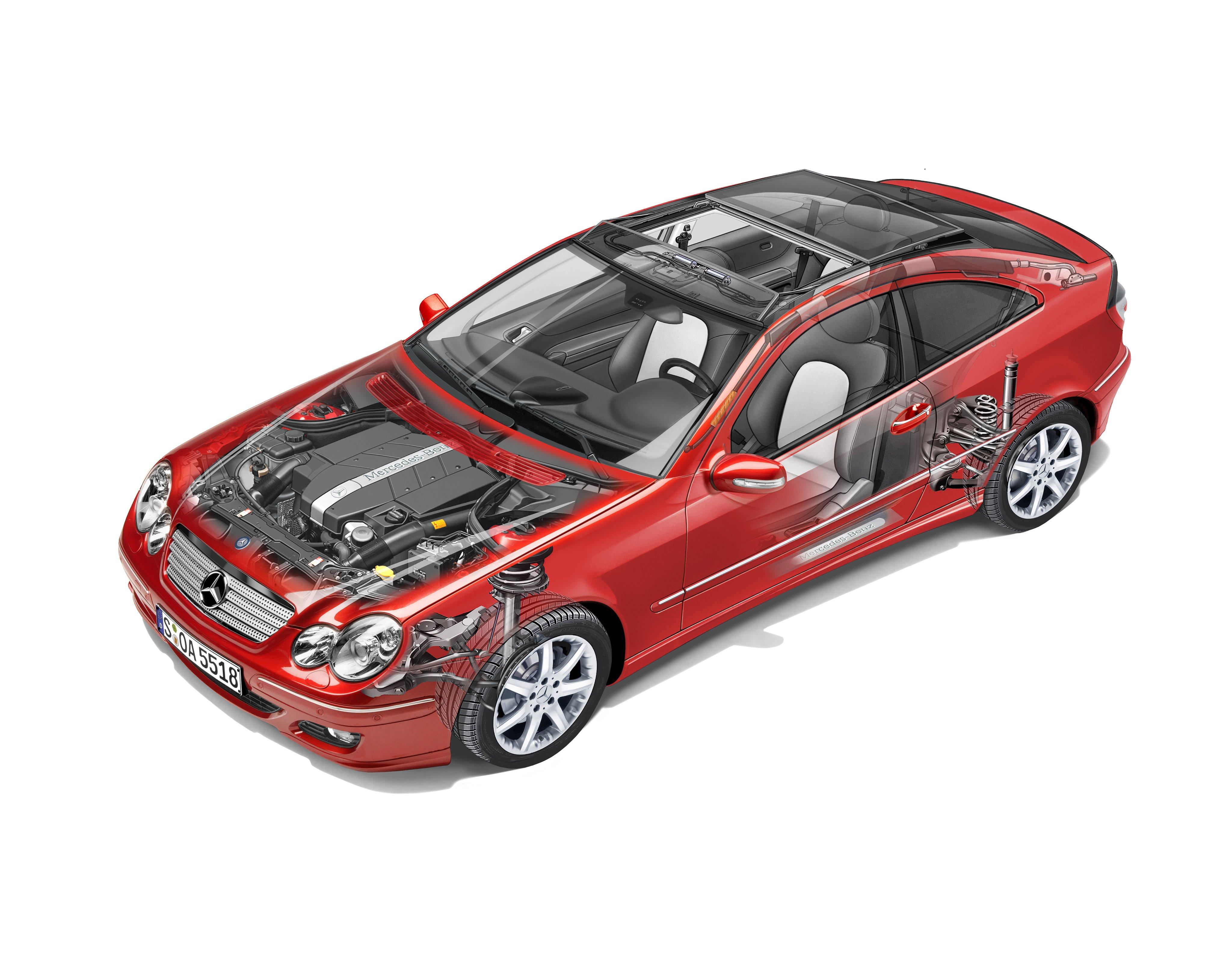 mercedes benz c class sport coupe cars technical cutaway. Black Bedroom Furniture Sets. Home Design Ideas