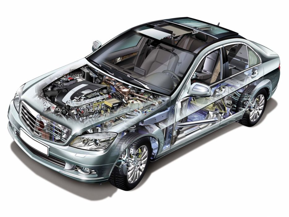 Mercedes Benz C-class sedan cars technical cutaway 2007 wallpaper
