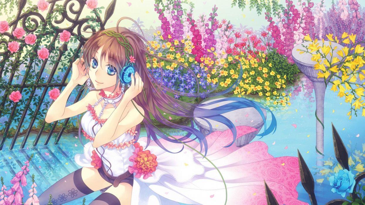 anime girl long hair dress flower wallpaper