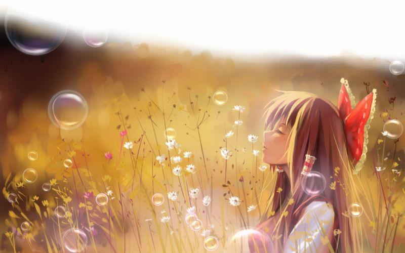 anime girl summer long hair summer blonde wallpaper