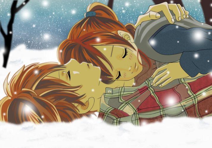 anime couple snow winter wallpaper