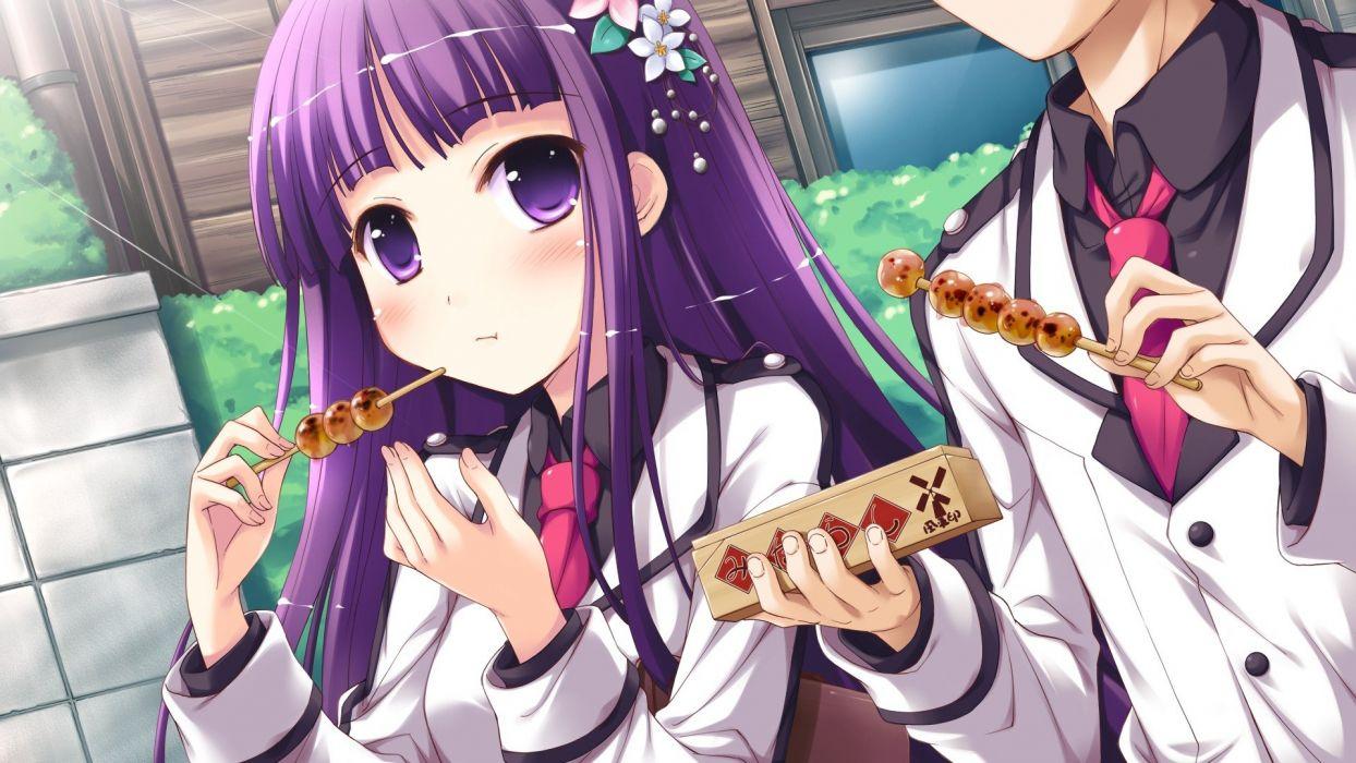 anime girl food long hair wallpaper
