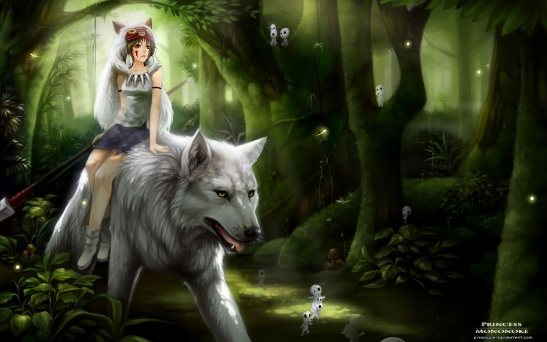 anime Princess Mononoke anime girls wolves wallpaper