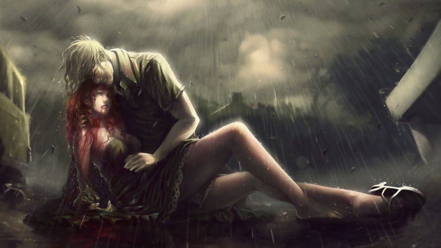 artwork fantasy art rain women red heads blood death love people wallpaper