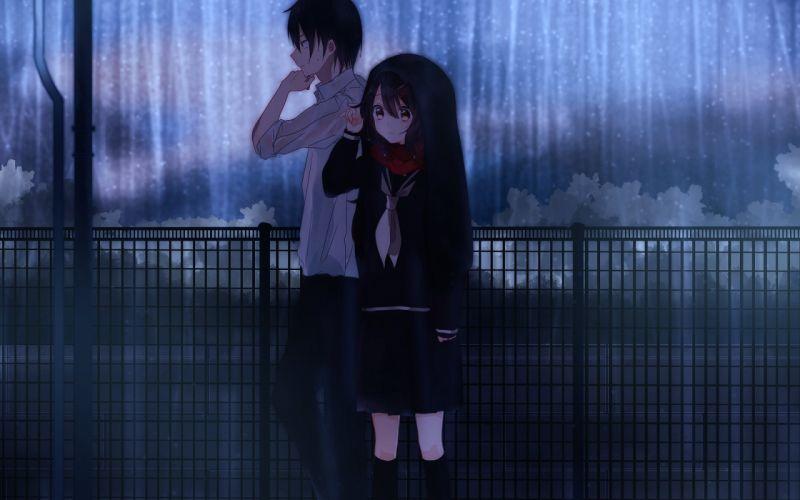 couples rain anime wallpaper