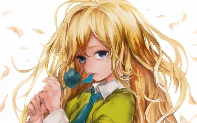 girl blonde rose anime girl cute wallpaper