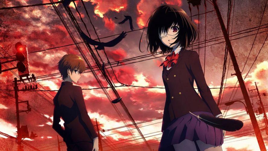 anime series characters misaki mei sakakibara kouichi another wallpaper