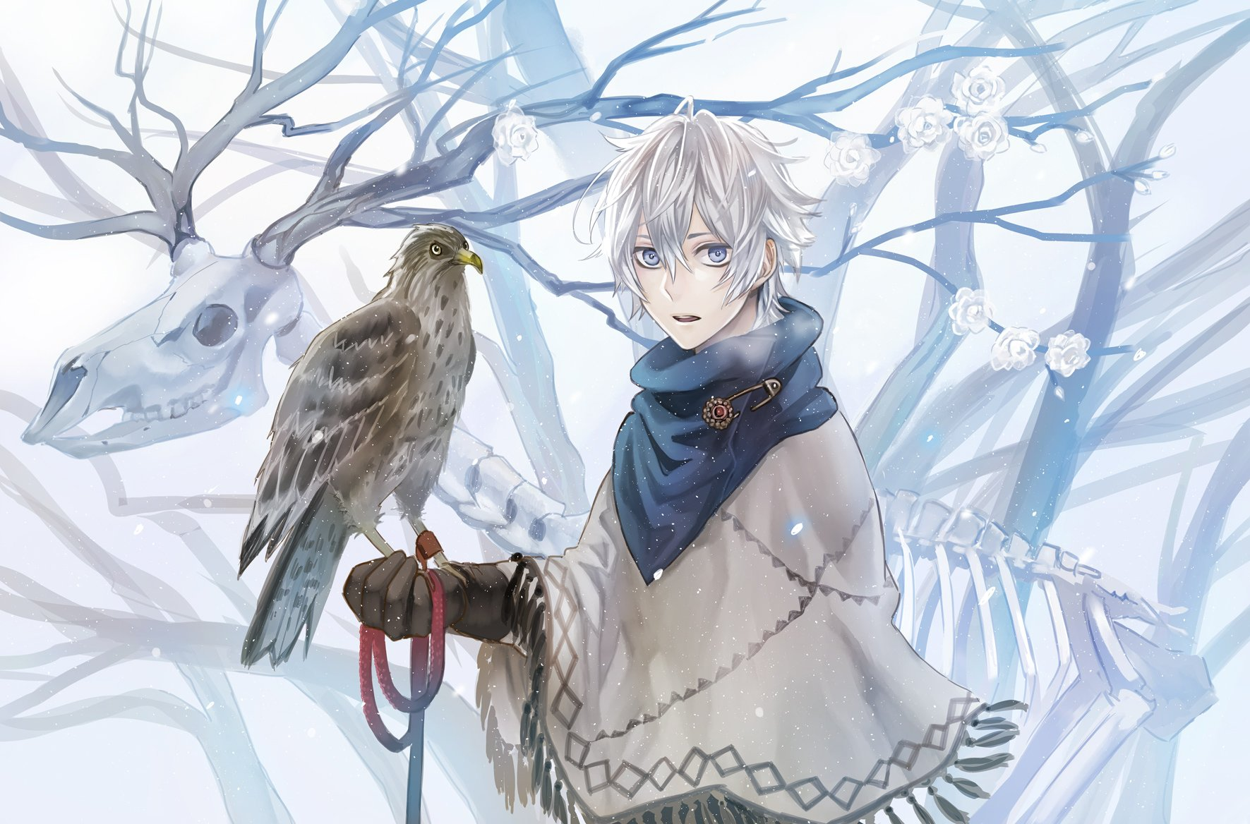 Original Anime Boy Animal Snow Winter Wallpaper