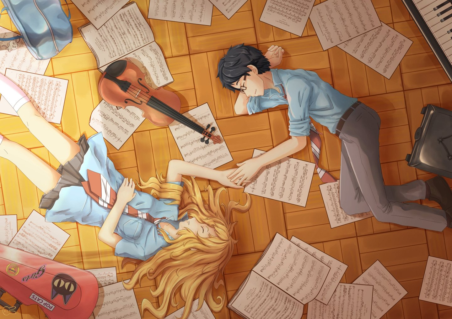 Anime Series Characters Music Notes Violin Girl Boy Wallpaper