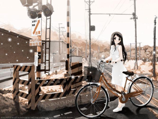 rail way crossings anime girls white dresses long hair dark hair Mahou Tsukai ni Taisetsu na KotoSuzuki Sora wallpaper