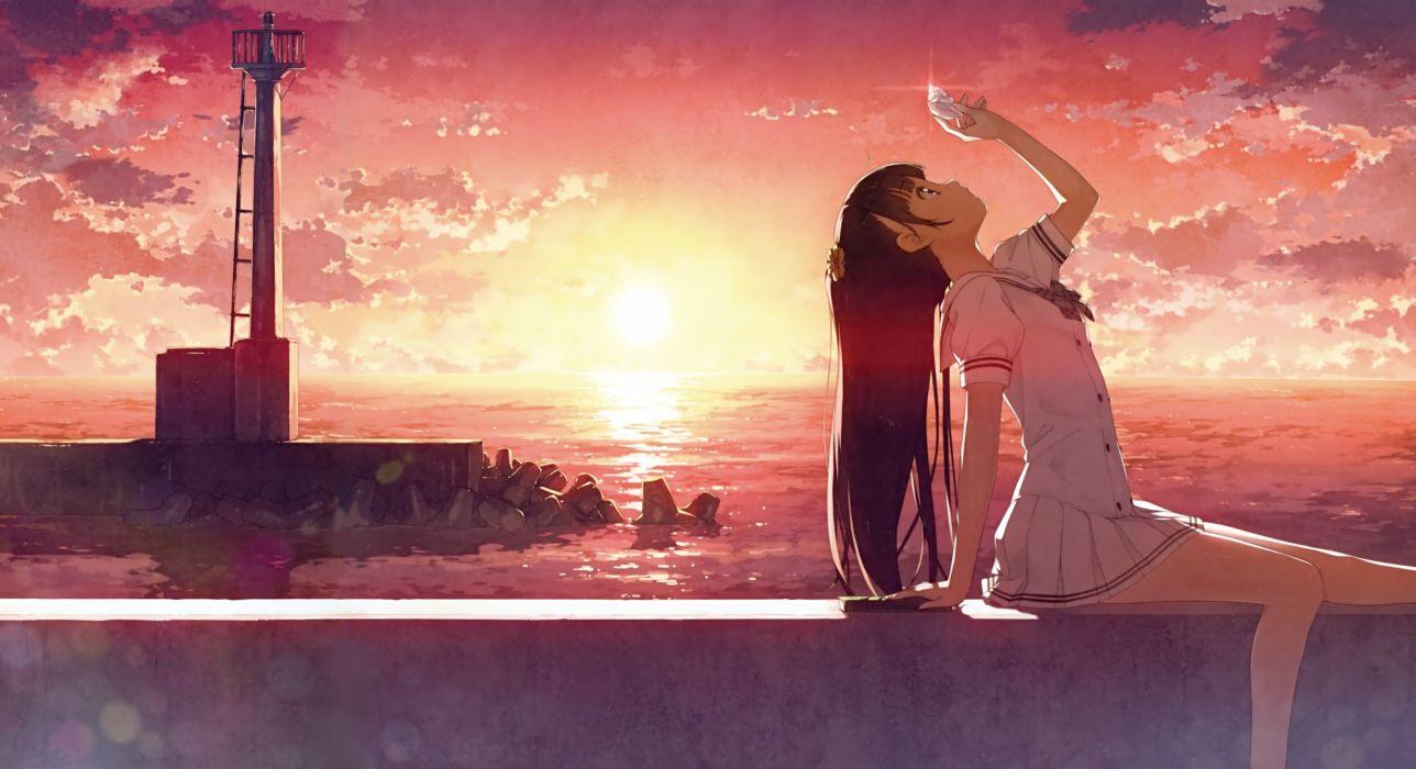 sunset anime girl sky clouds wallpaper