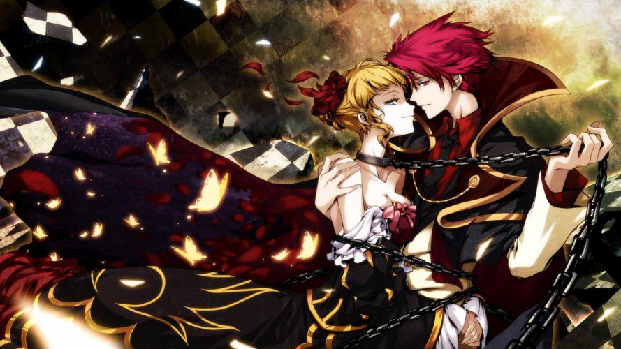 anime series dress butterfly couples love Umineko no Naku Koro ni wallpaper