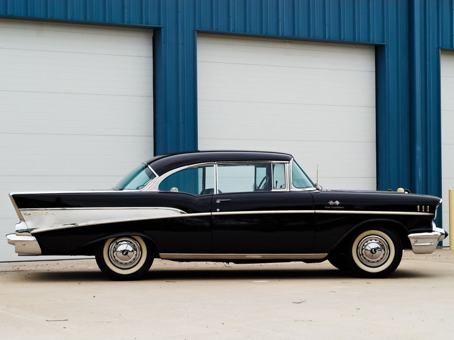 1957 Chevrolet Bel Air Sport Coupe Fuel Injection classic cars black wallpaper