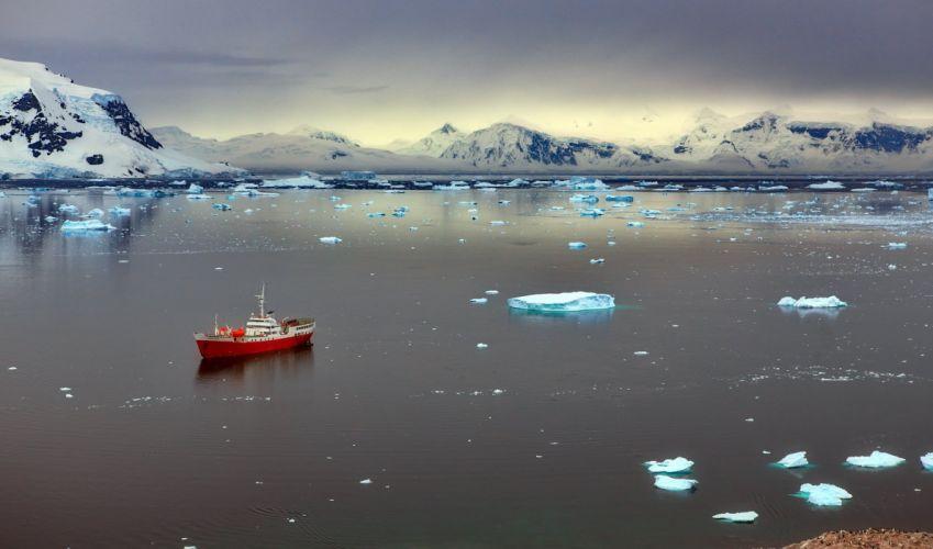 Antarctica ice boat red beautiful ship winter wallpaper