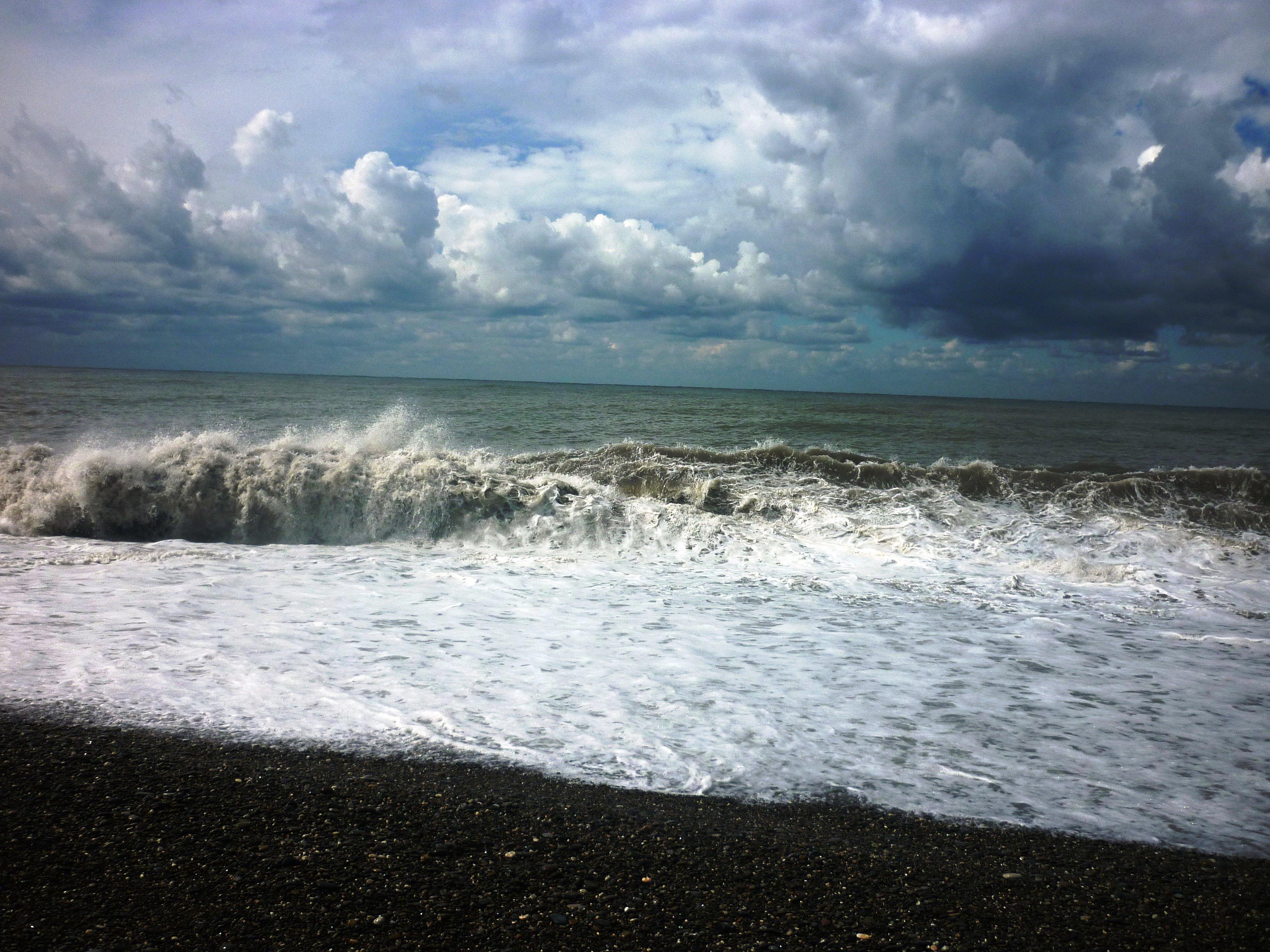Beach And Ocean Storm: Black Sea Storm Clouds Beach Waves Ocean Wallpaper
